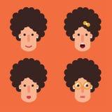 Kvinnor med lägenheten för lockigt hår royaltyfri illustrationer