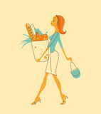 Kvinnor med shoppingpåsen Royaltyfri Fotografi