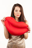 Kvinnor med stora röda kanter Royaltyfria Foton