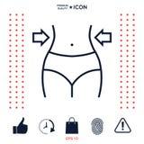 Kvinnor midjan, viktförlust, bantar, midjalinjen symbol stock illustrationer