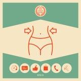 Kvinnor midjan, viktförlust, bantar, midjalinjen symbol royaltyfri illustrationer