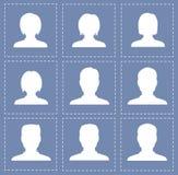 Kvinnor och män för folkprofilkonturer i vit färg Arkivfoton