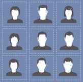 Kvinnor och män för folkprofilkonturer i vit med mörk colo Royaltyfri Bild