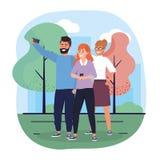 Kvinnor och manv?nner med smartphonen och tr?d vektor illustrationer