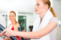 Kvinnor på cardio utbildning i idrottshall royaltyfria bilder
