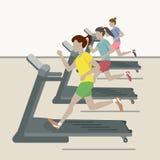 Kvinnor på idrottshallen stock illustrationer