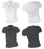 Kvinnor Polo Shirts Template stock illustrationer