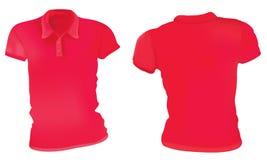 Kvinnor röda Polo Shirts Template royaltyfri illustrationer