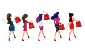 Kvinnor rusar för säsongsbetonad Sale erbjudandeshopping stock illustrationer