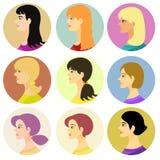 Kvinnor som är girlavatar på ett kulört också vektor för coreldrawillustration Royaltyfri Fotografi