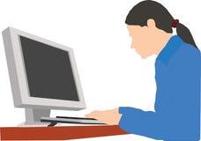 Kvinnor som arbetar med datorvektorn Royaltyfri Bild