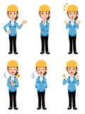 Kvinnor som arbetar på olikt blått omslag 6 för konstruktionsplatsen, poserar stock illustrationer