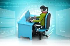 kvinnor som 3d ser bärbara datorn Arkivfoton