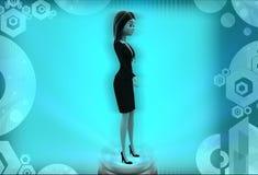 kvinnor som 3d står illustrationen Fotografering för Bildbyråer