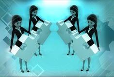 kvinnor som 3d står med pusslet i handillustration Arkivbilder