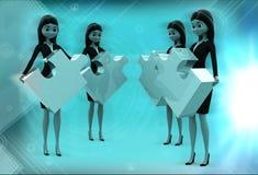 kvinnor som 3d står med pusslet i handillustration Arkivbild