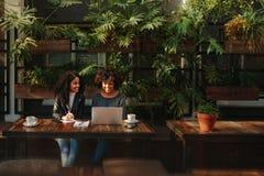 Kvinnor som diskuterar idéer över kaffe arkivbild