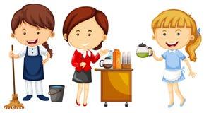 Kvinnor som gör olika sorter av jobb royaltyfri illustrationer