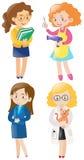 Kvinnor som gör olika sorter av jobb Royaltyfri Foto
