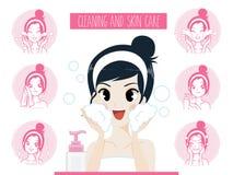 Kvinnor som gör ren behandling för akne för hudomsorg ansikts- stock illustrationer