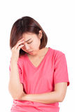 Kvinnor som har huvudvärken, migrän, bakrus, sömnlöshet Arkivfoto