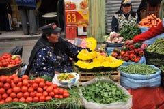 Kvinnor som säljer på gatan av La Paz Arkivfoto