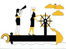 Kvinnor som seglar på skeppankaret royaltyfri illustrationer