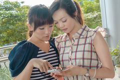 Kvinnor som ser något på en mobiltelefon royaltyfri fotografi