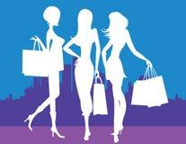 Kvinnor som shoppar i stad Arkivfoto