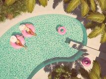 Kvinnor som simmar på flötet i en pöl framförande 3d stock illustrationer