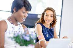 Kvinnor som tillsammans arbetar, kontorsinre royaltyfri bild