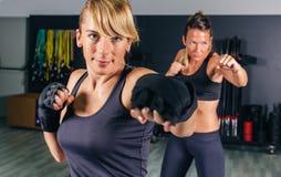 Kvinnor som utbildar hård boxning i idrottshallen Royaltyfria Foton