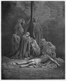 Kvinnorna binder upp in och smörjer den Jesus kroppen vektor illustrationer