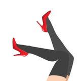 Kvinnors ben i skor Arkivfoton