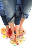 Kvinnors ben med trevligt spikar (pedikyren) Royaltyfria Foton