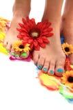 Kvinnors ben med trevligt spikar (pedikyren) Royaltyfria Bilder