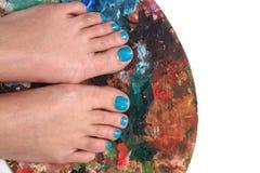 Kvinnors ben med trevligt spikar (pedikyren) Royaltyfri Foto