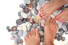 Kvinnors ben (spikar) och stenar (pedikyren) Royaltyfria Foton