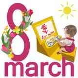 Kvinnors dagkort med en bild av ett barn och att gratulera mamma och nummer 8 med en girland av tulpan, påskliljor och mimosan royaltyfri illustrationer