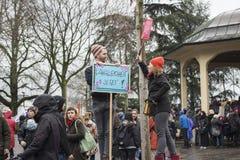 Kvinnors dagmarsch i Zurich Fotografering för Bildbyråer