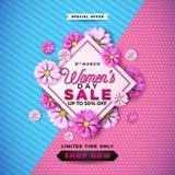 Kvinnors dagSale design med den härliga färgrika blomman på rosa bakgrund Blom- illustrationmall för vektor för kupong royaltyfri illustrationer