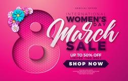 Kvinnors dagSale design med den härliga färgrika blomman på rosa bakgrund Blom- illustrationmall för vektor för kupong stock illustrationer