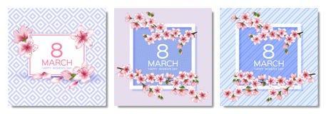 8 kvinnors för mars lycklig uppsättning för kort för vektor för dag stock illustrationer