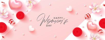 8 kvinnors för mars lyckligt baner för dag Härlig bakgrund med blommor, slingrande, hjärtor och gåvaaskar vektor vektor illustrationer