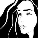 Kvinnors framsida med hår Arkivbild