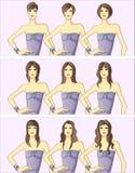 kvinnors frisyrer royaltyfri illustrationer