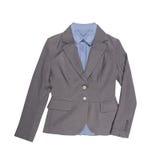 Kvinnors gråa klassiska blazer med skjortor Arkivfoton