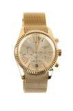 Kvinnors guld- klocka på vit bakgrund Royaltyfri Foto