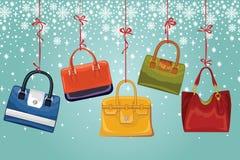 Kvinnors handväskor på band, snöflingor Vinter Royaltyfri Bild