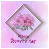 Kvinnors kort för daghälsning med blommabakgrund arkivbilder